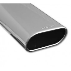 Exhaust Tip Single Piece; Slant Cut, Polished, Flat Oval 150 x 65mm