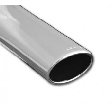 Exhaust Tip Single Piece; Slant Cut, Polished, Round Oval 120 x 77mm