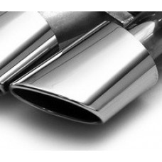 Exhaust Tip Single Piece; Slant Cut, Polished, Round Oval 120 x 77mm right side