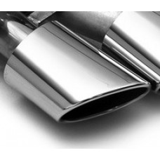 Exhaust Tip Single Piece; Slant Cut, Polished, Round Oval 120 x 77mm left side